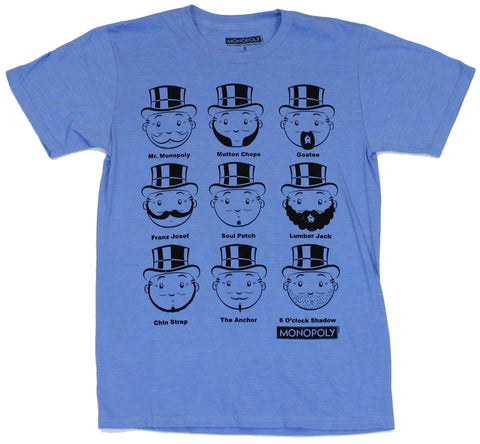 Monopoly (Classic Board Game) Mens T-Shirt  - The Many Mustaches of Uncle Penn