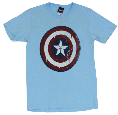 Captain America (Marvel Comics) Mens T-Shirt - Slightly Dripping Distressed Logo