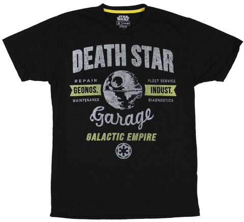 Star Wars Mens T-Shirt - Death Star Garage Galactic Empire Distressed Image