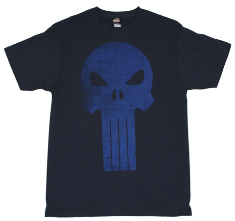 The Punisher (Marvel Comics) Mens T-Shirt  - Large Blue Cracked Skull Logo