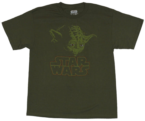 Star Wars  Mens T-Shirt - Red Eyed Yoda Image Over Word Logo