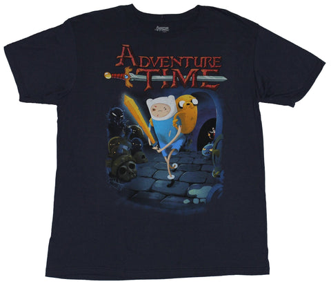 Adventure Time Mens T-Shirt -Battle Scarred Fiin & Jake Dungeon Exploration
