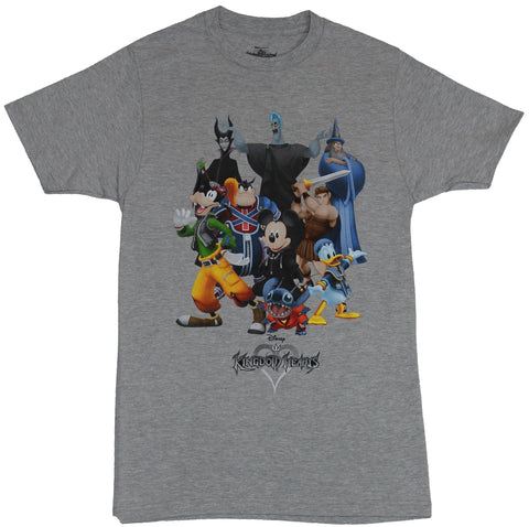 Kingdom Hearts Mens T-Shirt - Giant Group Cast Image Mickey And Stitch Center