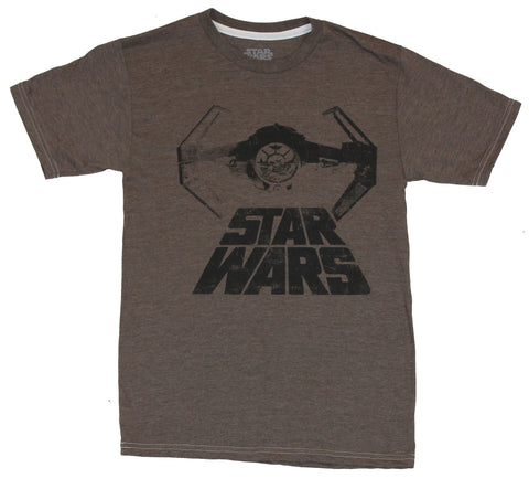 Star Wars Mens T-Shirt - Flocked Word Logo With Tie Fighter Image