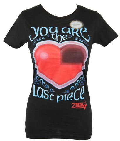 "Legend of Zelda Girls Juniors T-Shirt - ""You are the Last Piece"" Heart Image"