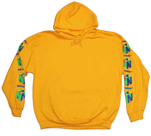 Nintendo 64 Mens Pull Over Hoodie - Classic N64 Logo Down the Sleeves