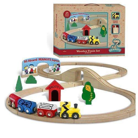 Peanuts (Charlie Brown) Wooden Holiday Figure 8 Track Train Set (28 Piece)