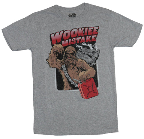 Star Wars Mens T-Shirt - Chewbacca Ran out of Gas Wookie Mistake