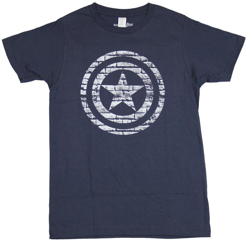 Captain America  (Marvel)  Mens T-Shirt - White Bricked Circle Shield Image