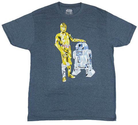 Star Wars Mens T-Shirt - C-3PO R2-D2 Geometric Droids Drawing Image