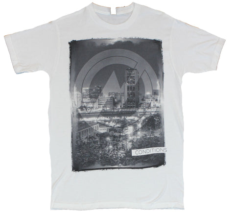 Conditions Mens T-Shirt  - Cityscaped Black and White Logo Image