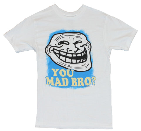 You Mad Bro? Mens T-Shirt -  Crazy Face Internet Meme Red Word Image