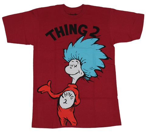 Dr. Seuss Cat in The Hat Mens T-Shirt - Thing 2 Full Drawing Under Name