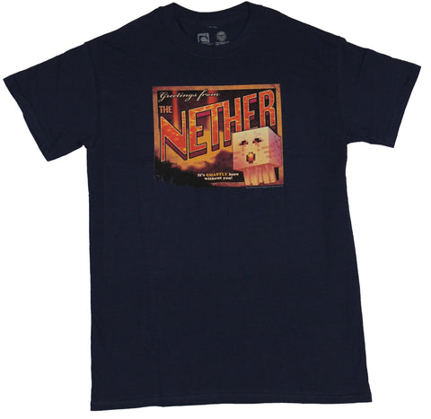 Minecraft Mens T-Shirt  - Greetings From the Nether Postcard Image