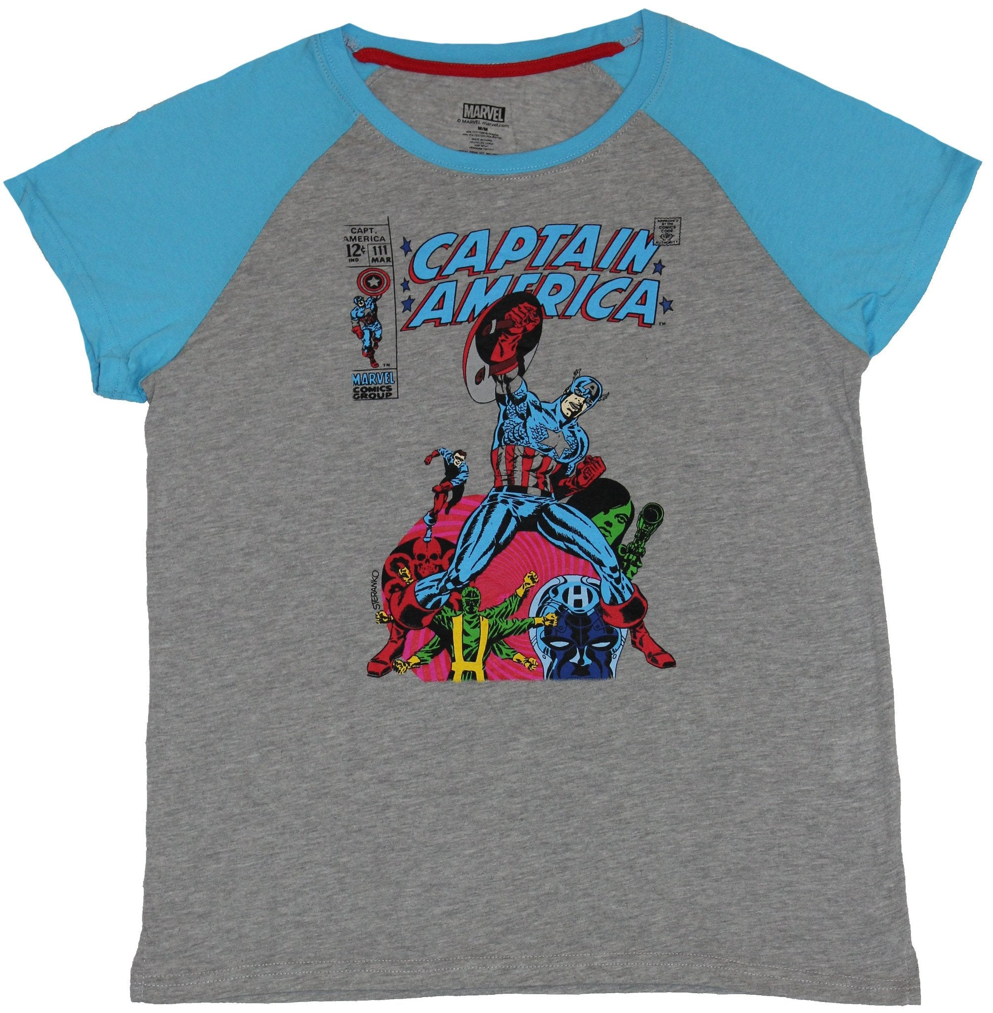 Captain America (Marvel Comics) Girls Juniors T-Shirt - Stylized Cover Issue 111