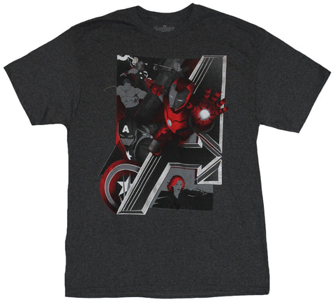 The Avengers Marvel Comics Mens T-Shirt - Metallic Style A & Red tinted Heroes