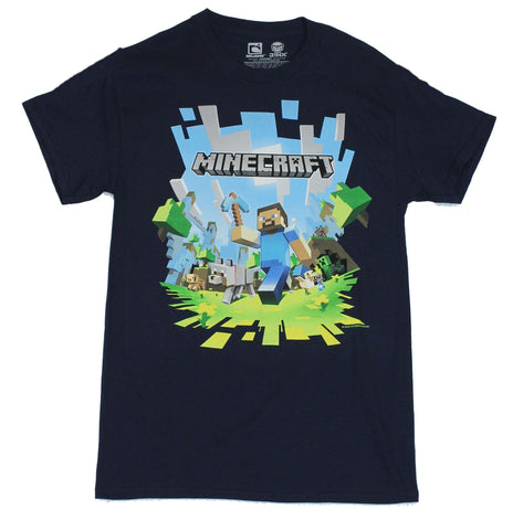 Minecraft Mens T-Shirt - Steve's Exploding Running Adventure Image
