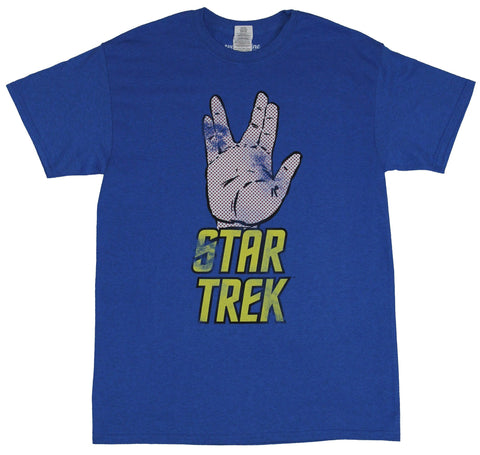 Star Trek Mens T-Shirt - Distressed Vulcan Greeting Hand Over Yellow Logo
