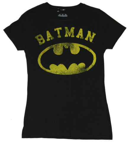 Batman (DC Comics) Girls Juniors T-Shirt - Distressed Classic Logo Under Word