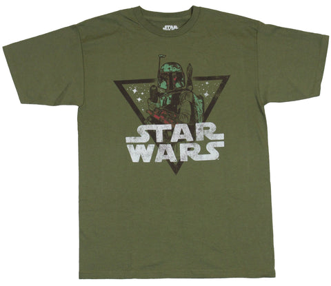 Star Wars Mens T-Shirt - Distressed Boba Fett Triangle image Under Logo