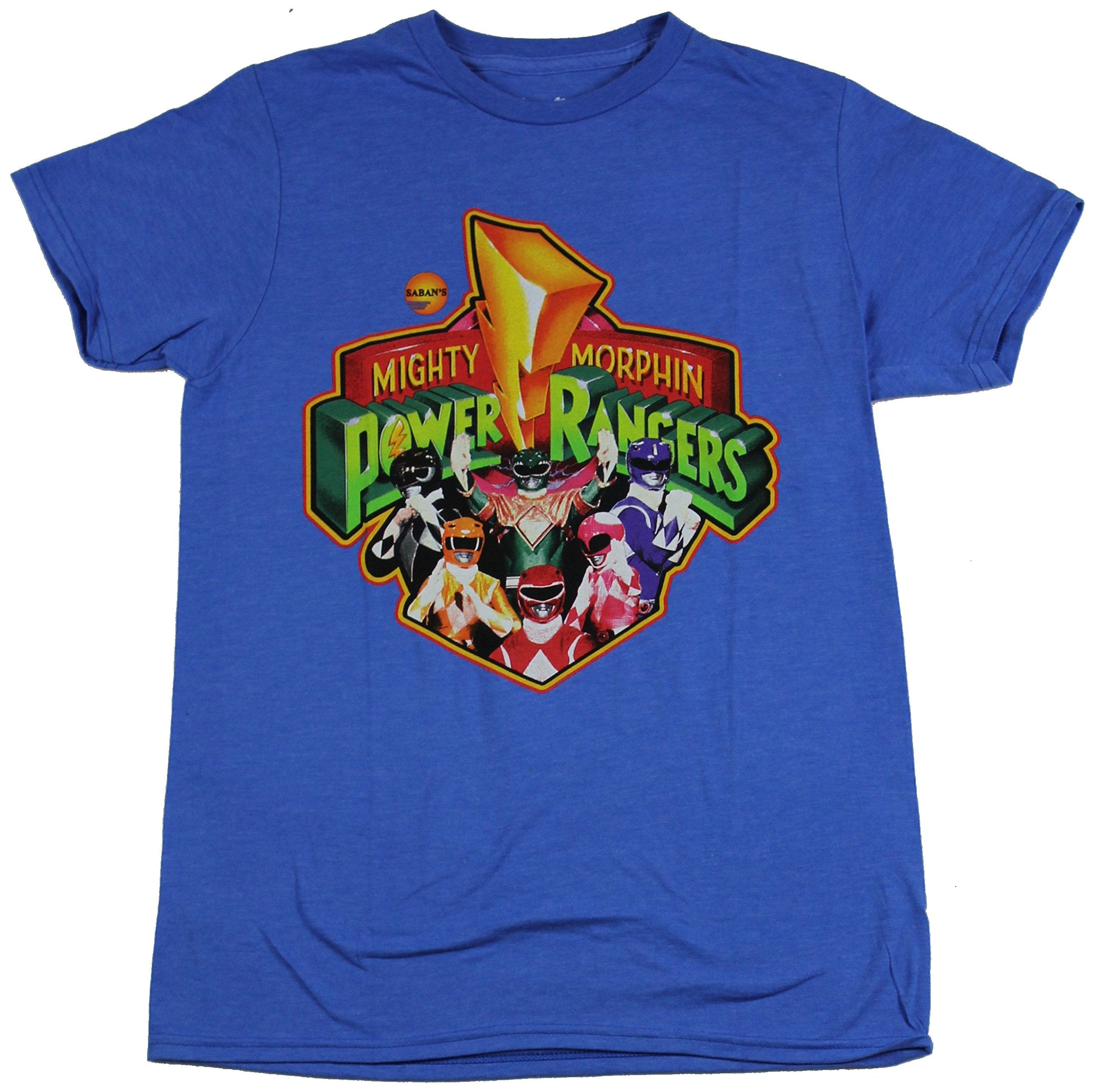 Mighty Morphin Power Rangers Mens T-Shirt - Classic Photo Group Logo Image