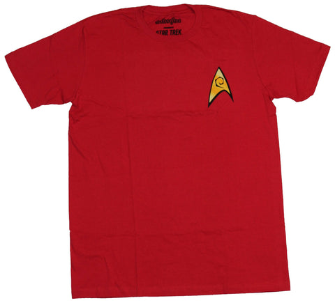 Star Trek Mens T-Shirt -  Stylized Red Costume Front Shirt Image