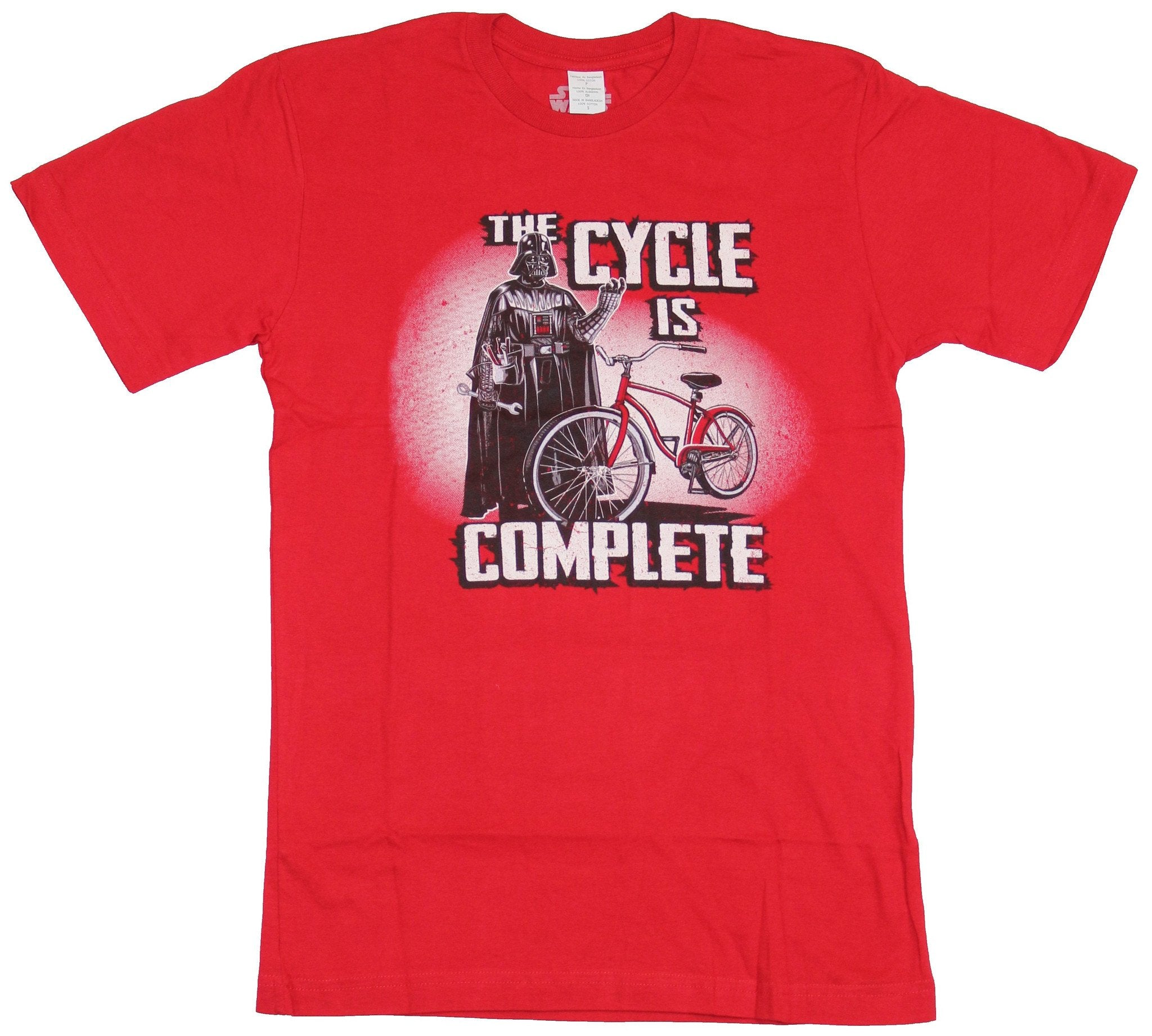 Star Wars  Mens T-Shirt - Darth Vader The Cycle Is Complete Bike Image