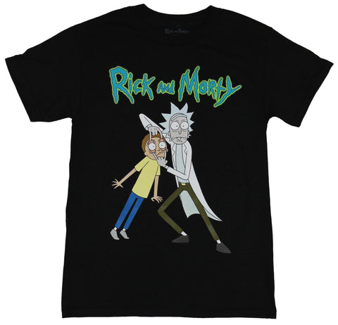 Rick & Morty Mens T-Shirt - Rick Messing with Morty's Eyes Image