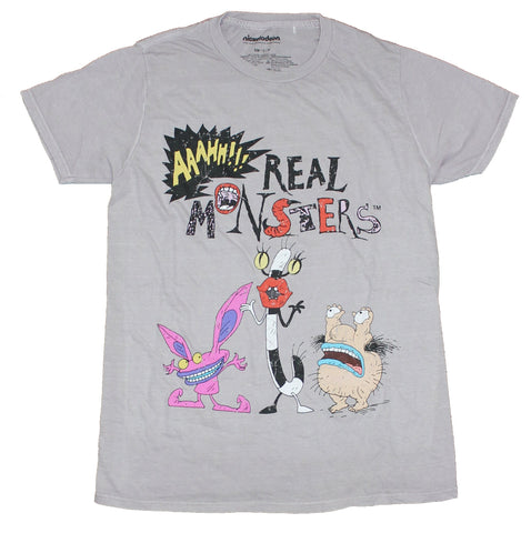 Aaahh!! Real Monsters Mens T-Shirt - Real Monsters Characters Under Logo