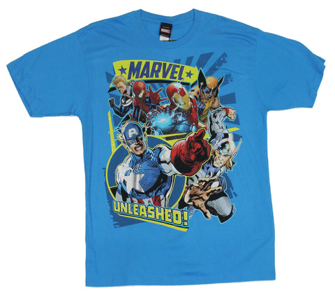 "Marvel Comics Mens T-Shirt - ""Unleashed"" Cap Wolvy & More Sunburst Image"