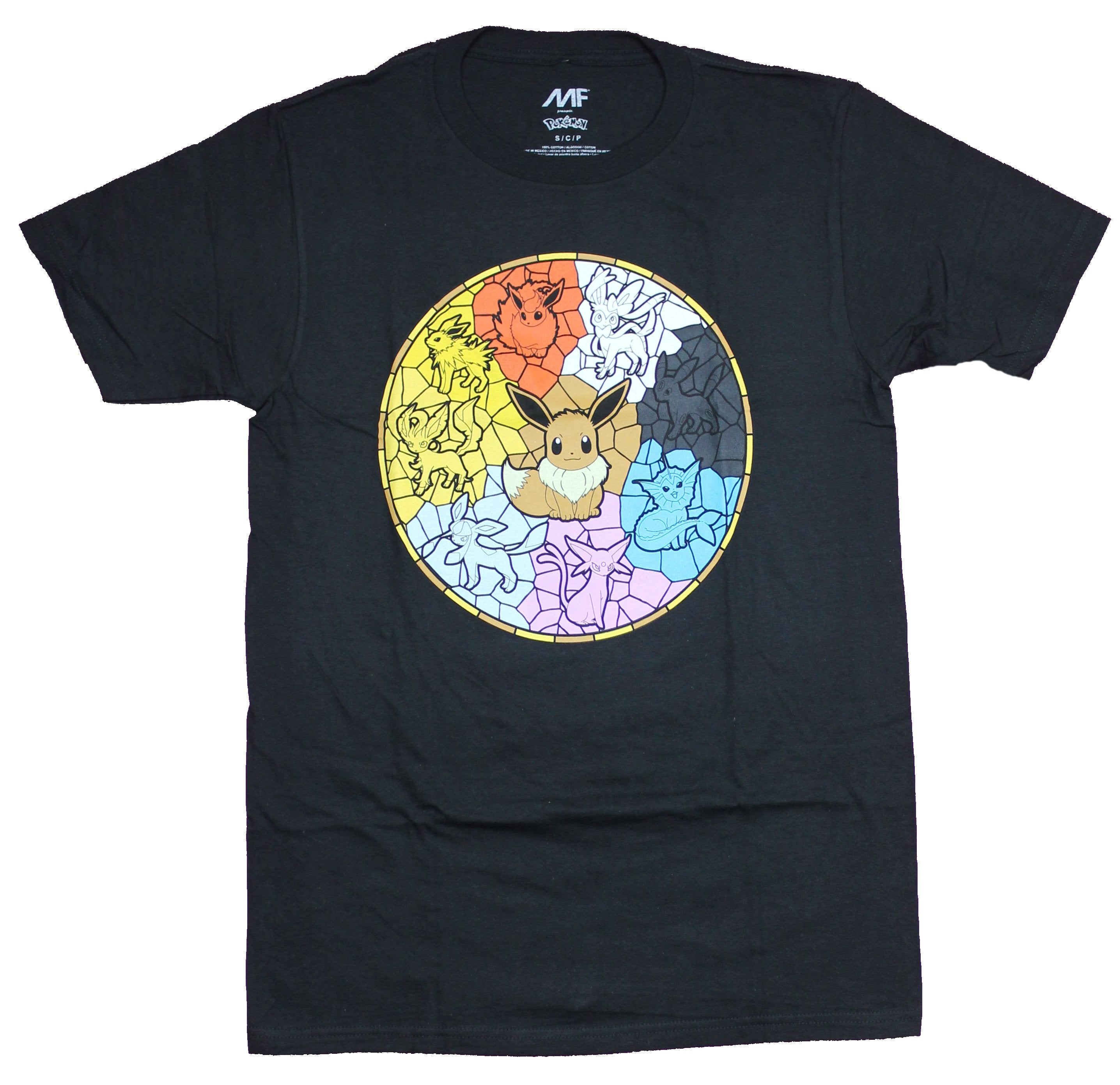 Pokemon Mens  T-Shirt - Eevee Stained Glass Evolutions Image