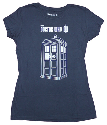 Doctor Who Girls Juniors T-Shirt - Outlined Call Box Under Tv Logo Image