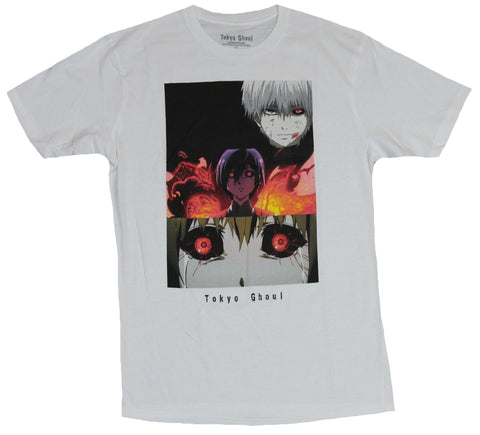 Tokyo Ghoul Mens T-Shirt - Scary Face Bars Eyes Close Up Image