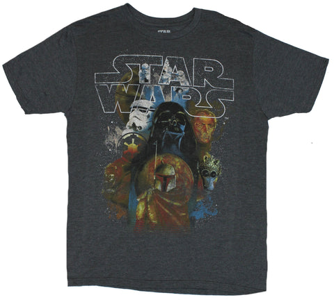 Star Wars Mens T-Shirt  - Faded Distressed Villans Collage Over Star Field Ima