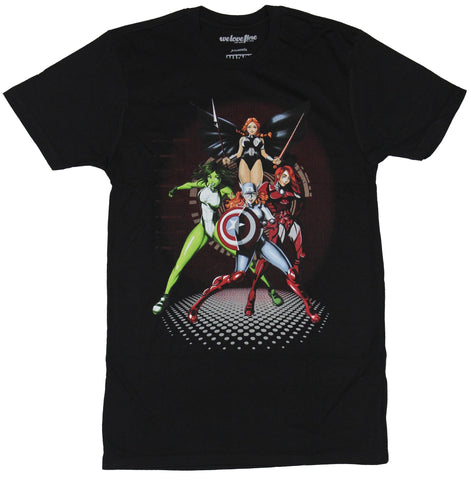 Marvel Comics Mens T-Shirt - The Ladies of Marvel Bishouji Style Battle Ready