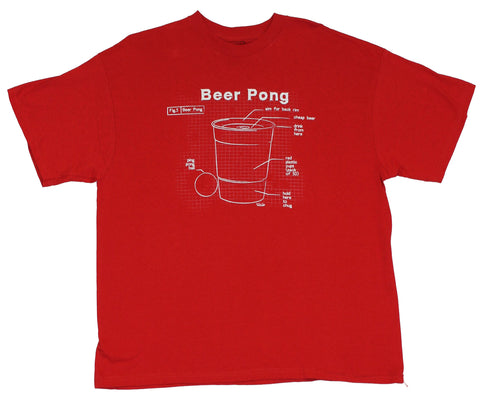 Beer Pong Mens T-Shirt  - Blue Print of The Game Requirements