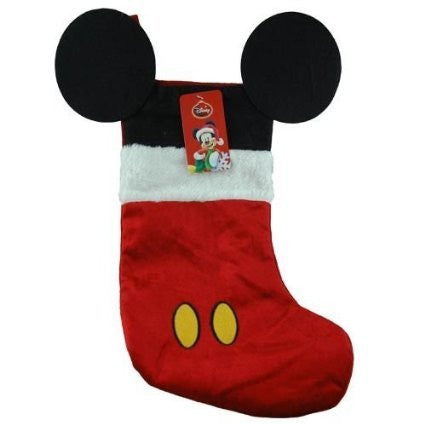 "Disney Mouse Ears 18"" Velour Christmas Stocking with Plush Cuff (Mickey Mouse - Red) - Inmyparentsbasement.com"
