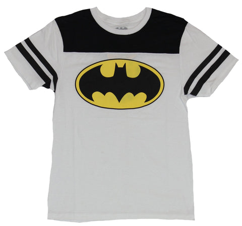 Batman (Dc Comics) Mens T-Shirt - Classic Oval Yellow Black Jersey Sleeves