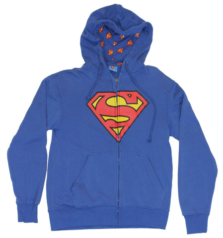 Superman Mens Hoodie  S Symbol on a Soft Fabric Blue Hoodie