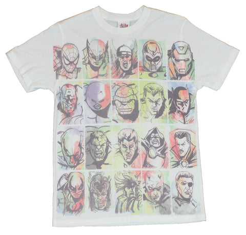 Marvel Comics Mens T-Shirt  - Major Character Watercolor Faces on White