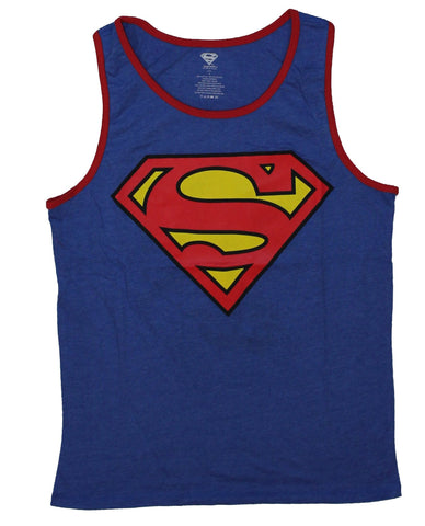 Superman (DC Comics) Mens Reversible Tank Top - Classic Logo / Action Pose