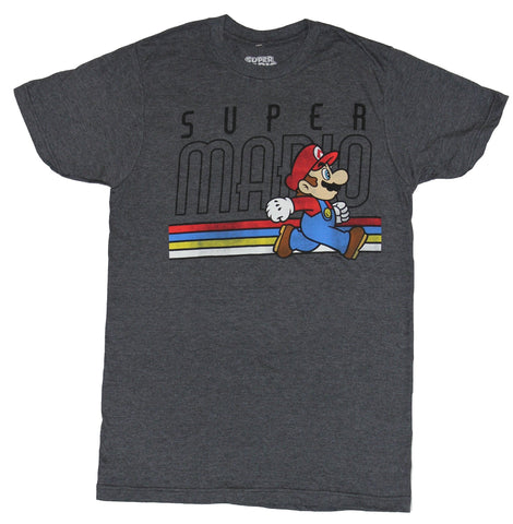Super Mario Brothers Mens T-Shirt - Distressed 4 Color Running Stripe With Name