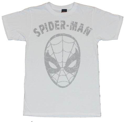 Spider-Man  (Marvel Comics) Mens T-Shirt -  Cracked Gray Simple Head Logo