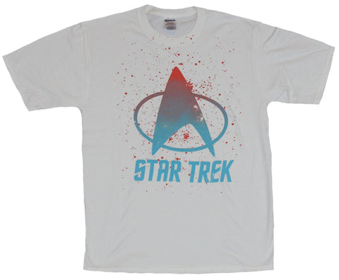 Star Trek Mens T-Shirt - Paint Splattered Blue Red Star Fleet Logo Image