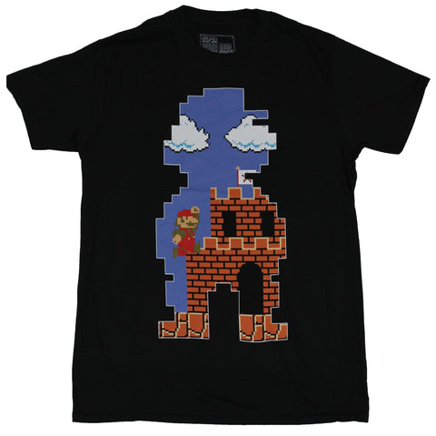 Super Mario Brothers Mens T-Shirt -  Castle Game Image In A Mario Shaped Cutout