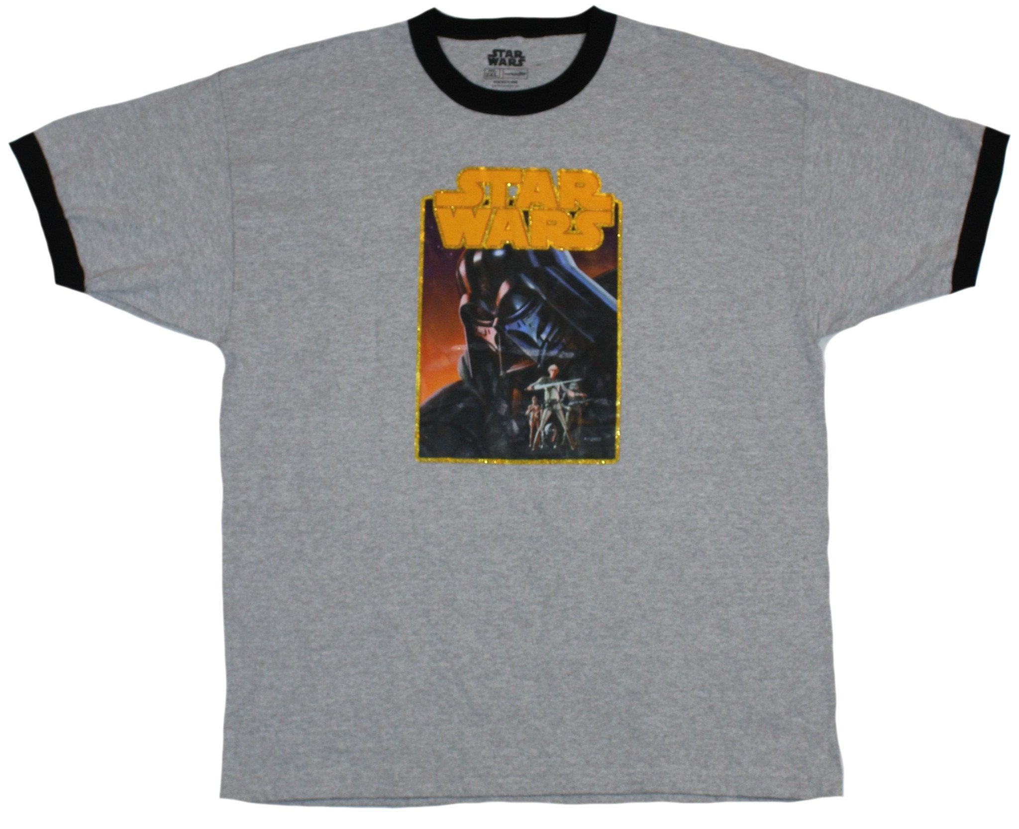 Star Wars Mens Ringer T-Shirt - Old School Iron On Darth Vader's Shadow