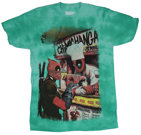 Deadpool (Marvel Comics) Mens T-Shirt - Chimichangas Selling to Deadpool