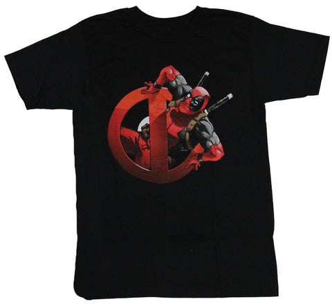Deadpool (Marvel Comics) T-Shirt -  Wade Wilson Climbing Out of The Logo Image