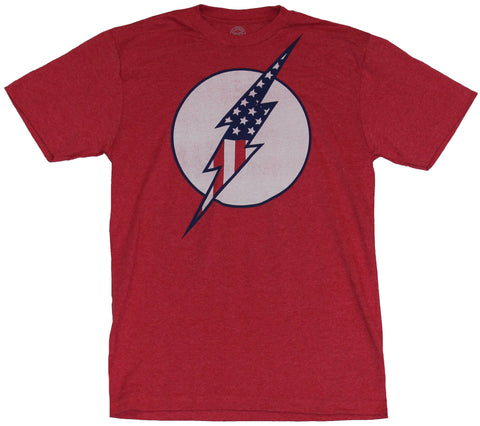 Flash (DC Comics) Mens T-Shirt - Distressed Americana Style Flash Logo Image