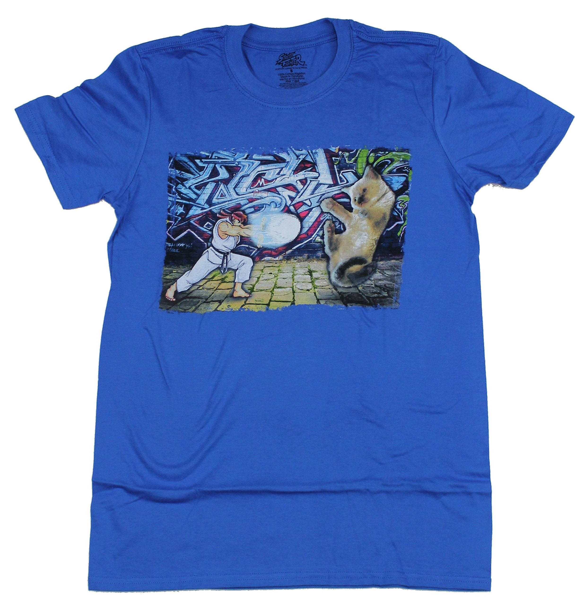 Street Fighter II Mens T-Shirt - Ryu Verses Kitten Battle
